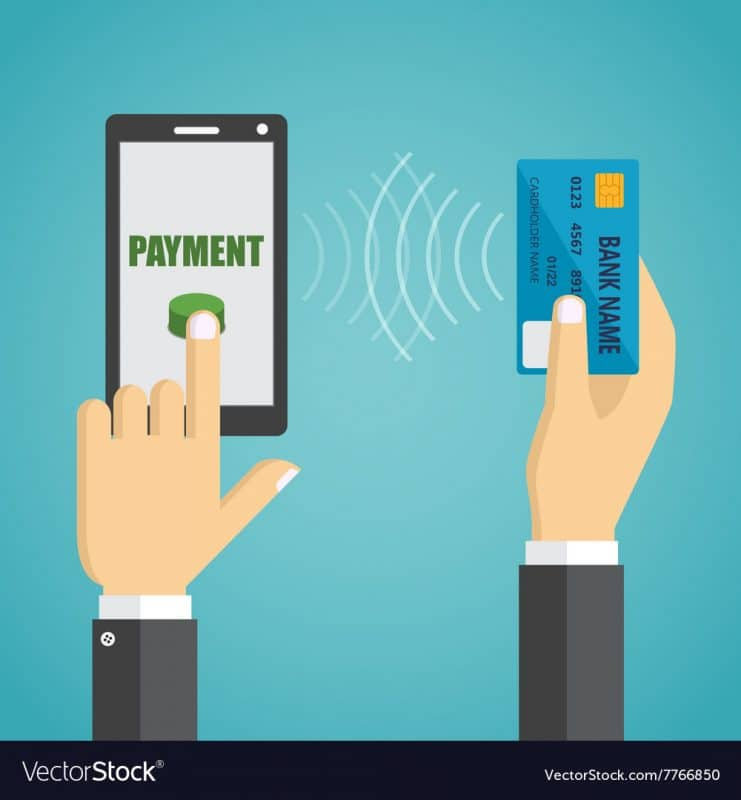 payment man-hands-holding-mobile-phone-credit-card-vector